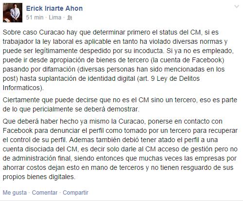 Erick Iriarte sobre crisis de La Curacao
