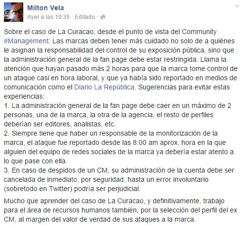 Comentario de Milton Vela sobre el caso La Curacao desde el punto de vista #CommunityManagement