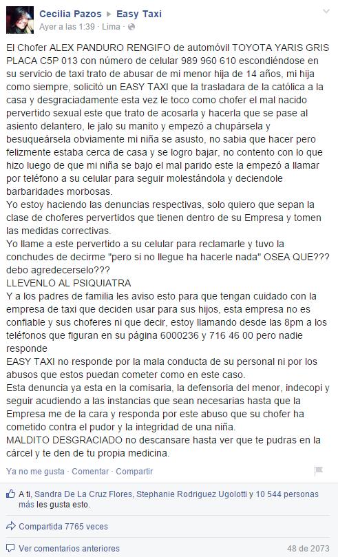 Denuncia de Cecilia Pazos en el muro de Facebook de Easy Taxi