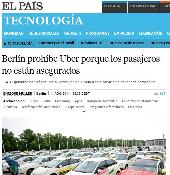 Gobierno prohíbe Uber por falta de garantías en servicio.