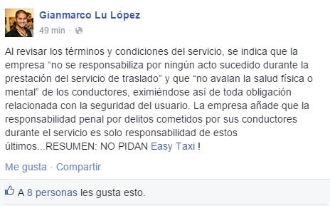 Gianmarco Lu como usuario responsable lee los términos y condiciones del servicio. Con ello, tiene el poder de exigir aclaraciones.