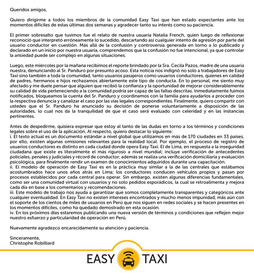 Mensaje de Co-fundador de Easy Taxi luego de los incidentes con la marca.