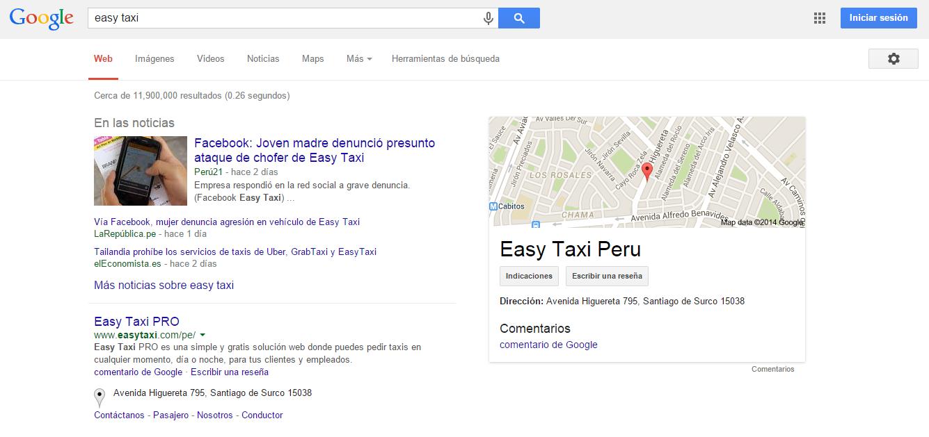 Resultados en búsqueda de Google al 11/12/2014