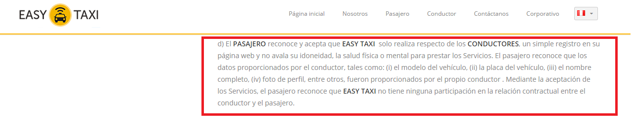 Terminos y condiciones para los pasajeros.