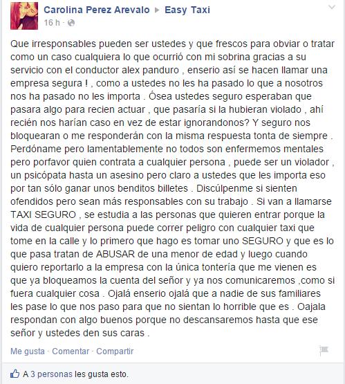 Reclamo en muro de facebook por Carolina Perez, usuario del servicio.