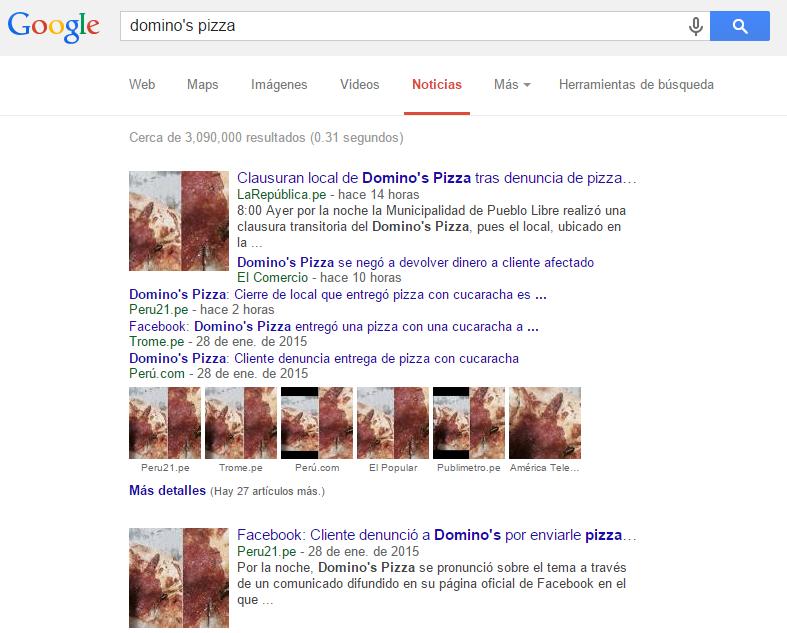 Dominos Pizza-Búsqueda en Google-Café Taipá