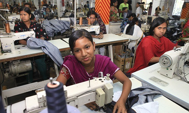 Worker in a Dhaka garment factory